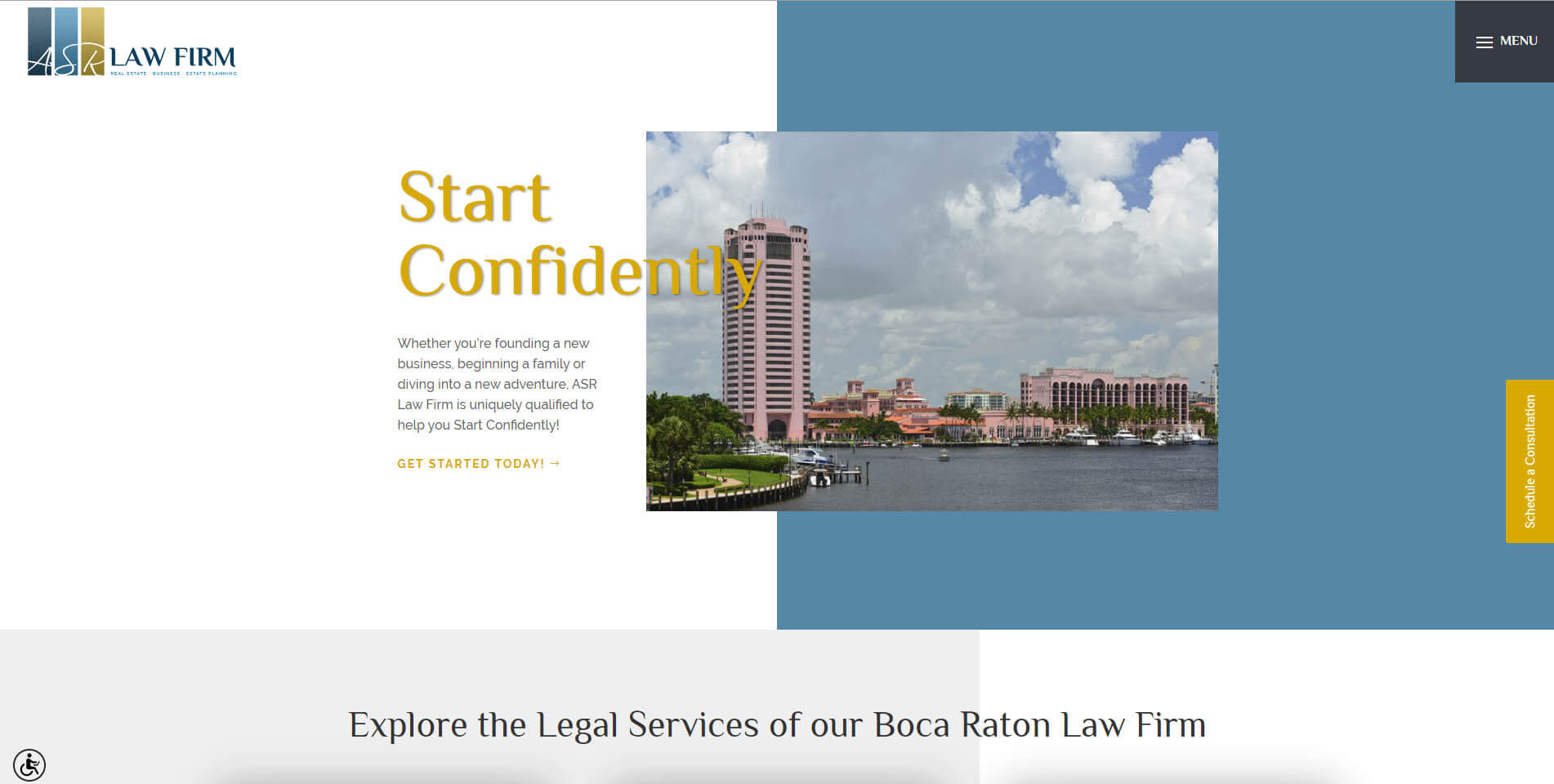An image of the homepage of ASR Law Firm, created by Not Fade Away Marketing