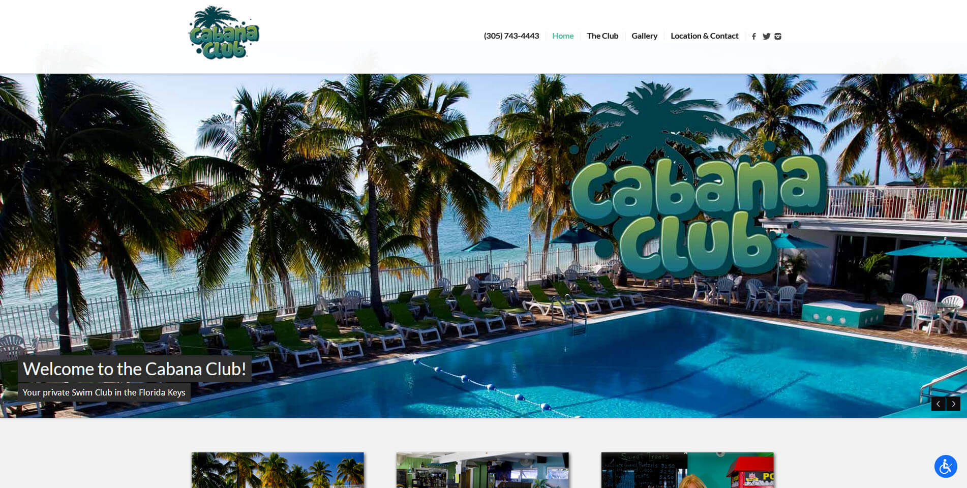 An image of the homepage of Cabana Club, website created by Not Fade Away Marketing