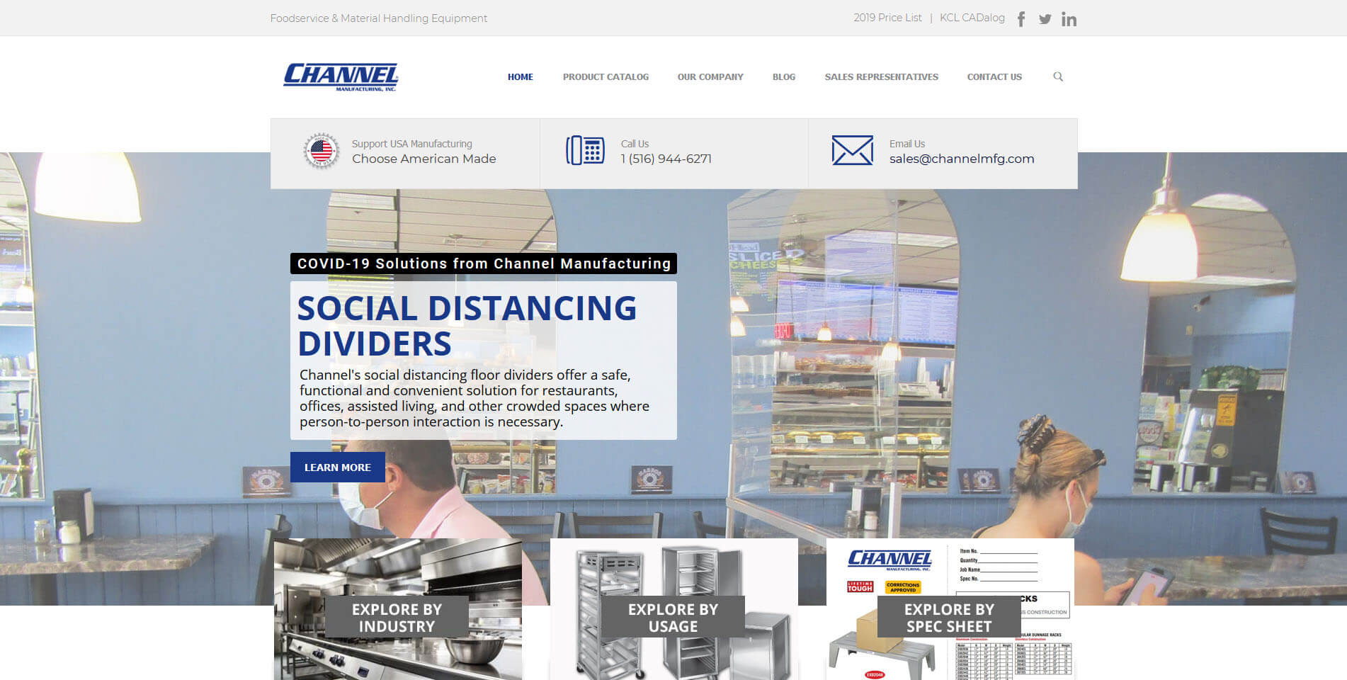 An image of the Channel Manufacturing website built by Not Fade Away.