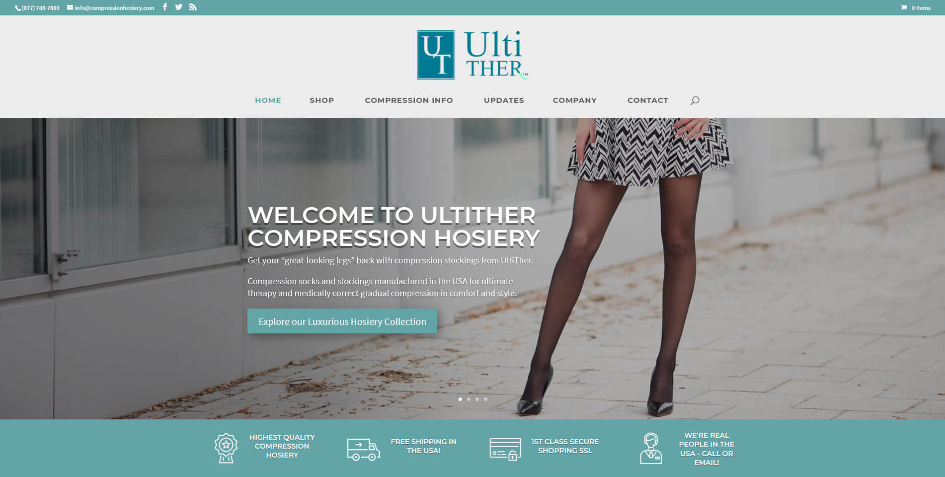 An image of the Compression Hosiery website developed by Not Fade Away