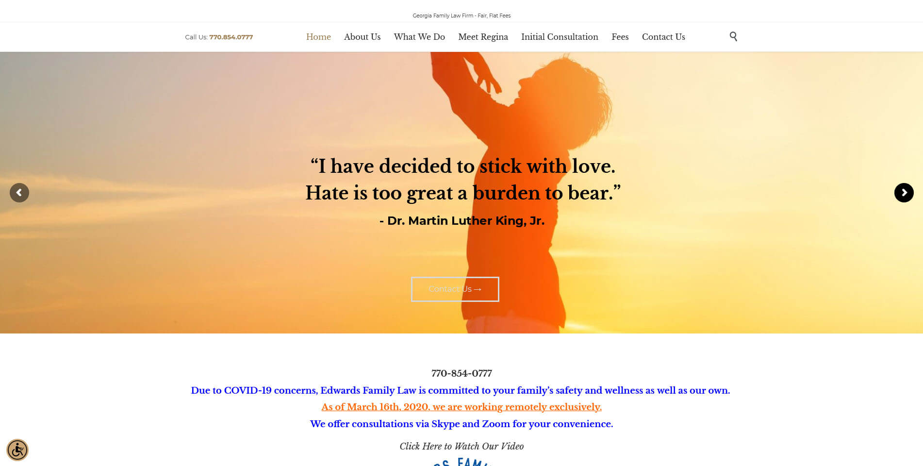 An image of the homepage of Edwards Divorce Law, website created by Not Fade Away Marketing