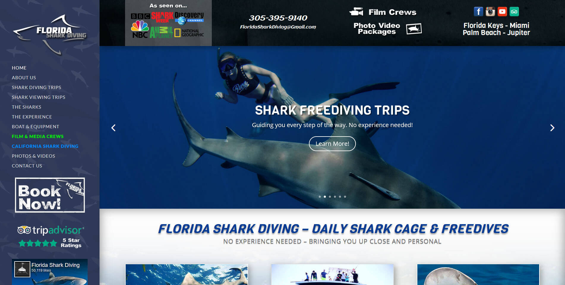 An image of the homepage of Florida Shark Diving, website created by Not Fade Away Marketing