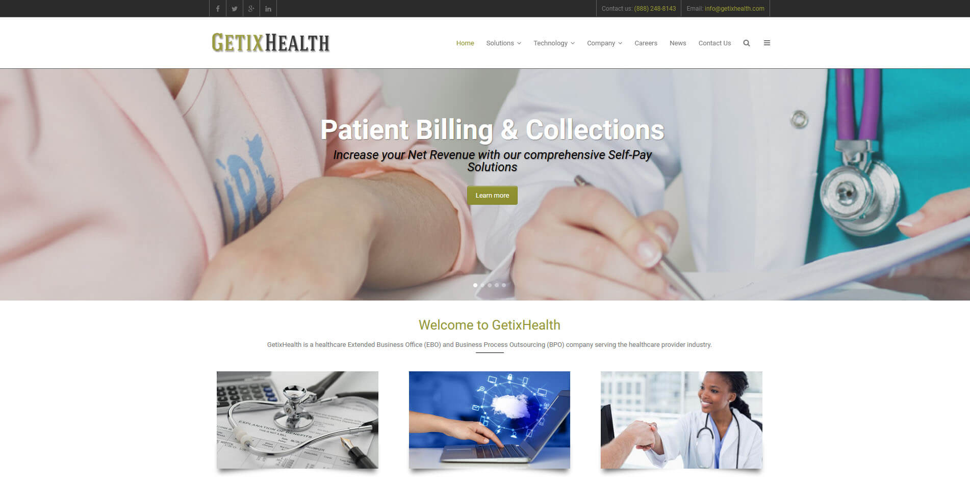 An image of the homepage of GetixHealth, website created by Not Fade Away Marketing