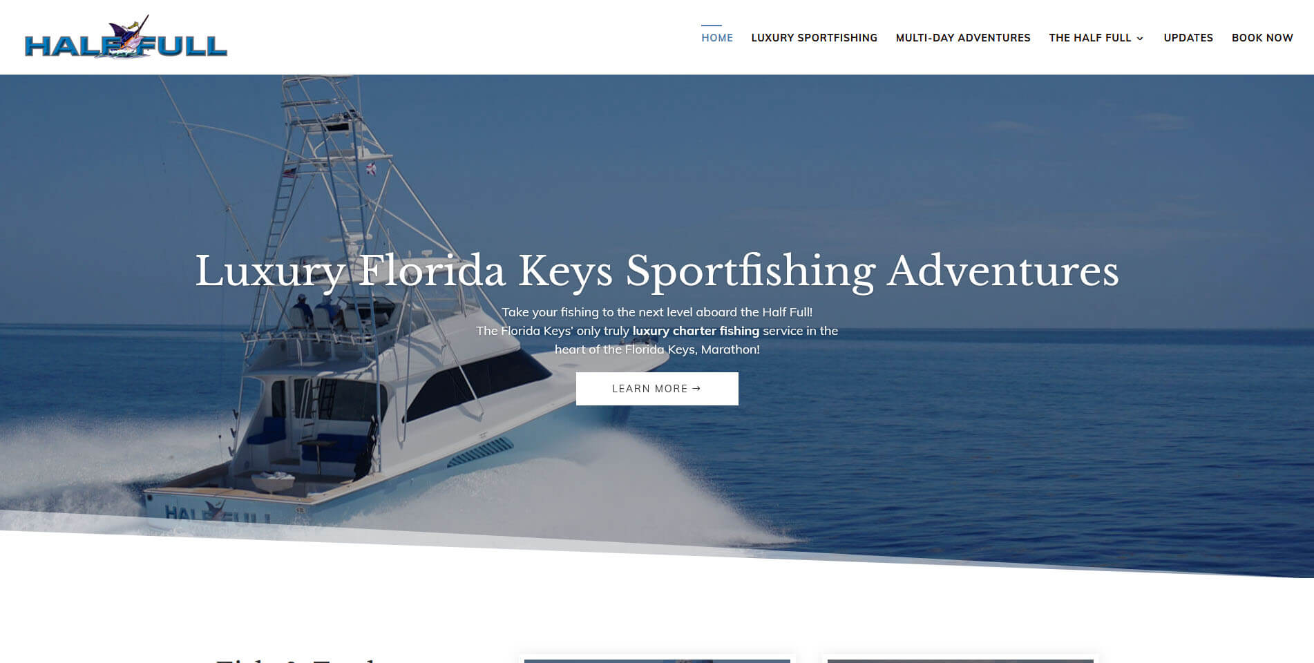 An image of the homepage of Half Full Sportsfishing, website created by Not Fade Away Marketing