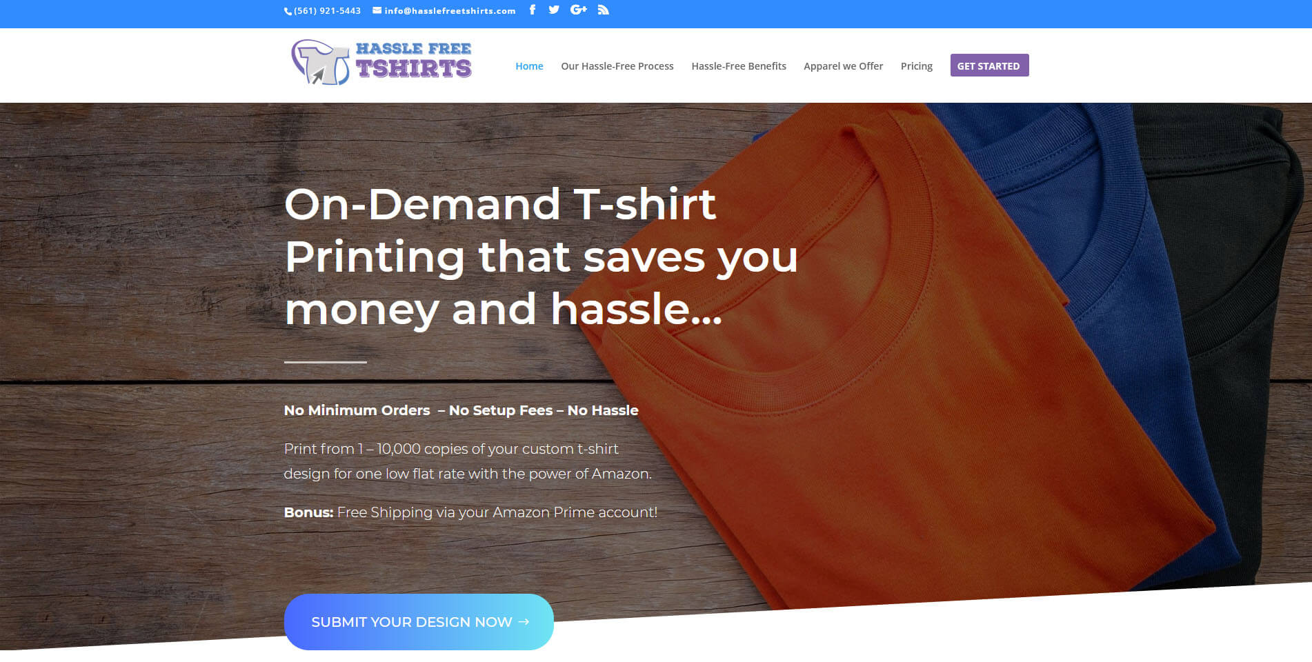 An image of the Hassle Free Tshirts website created by Not Fade Away Web Design.