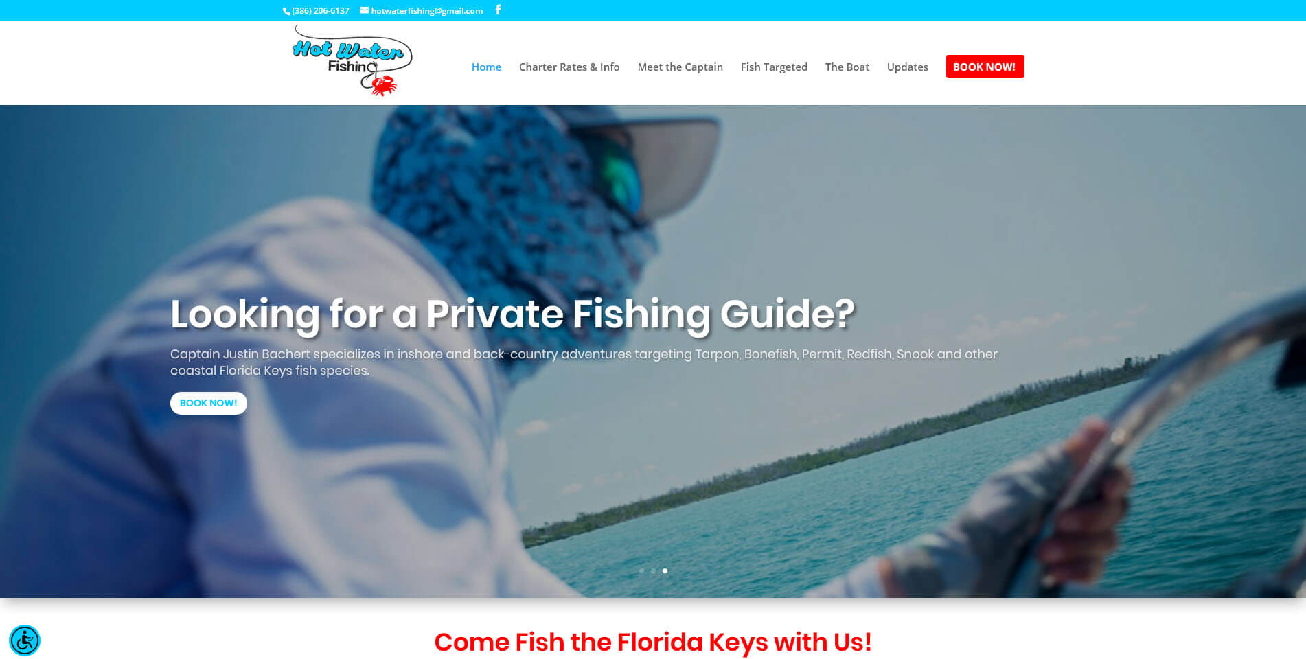 An image of the hot water fishing website, created by Not Fade Away Marketing of South Florida.