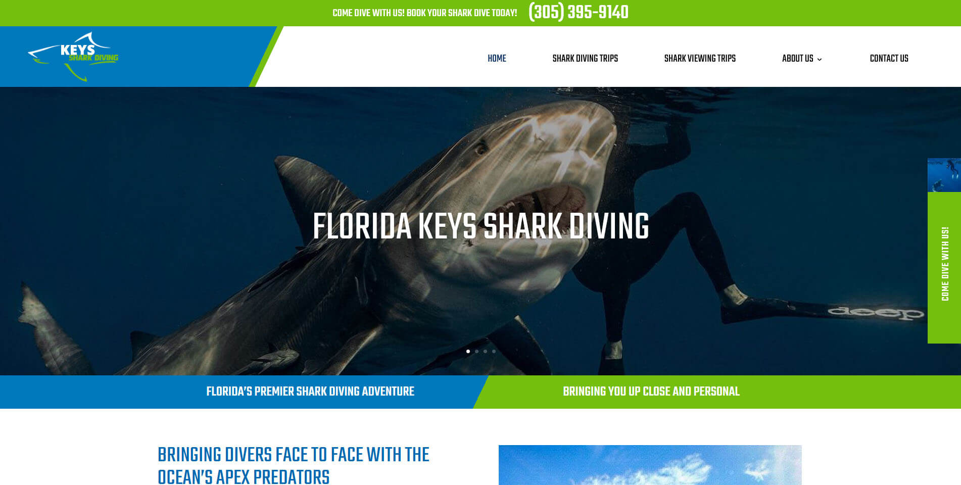 An image of the homepage of the Keys SHark Diving website, created by Not Fade Away agency.