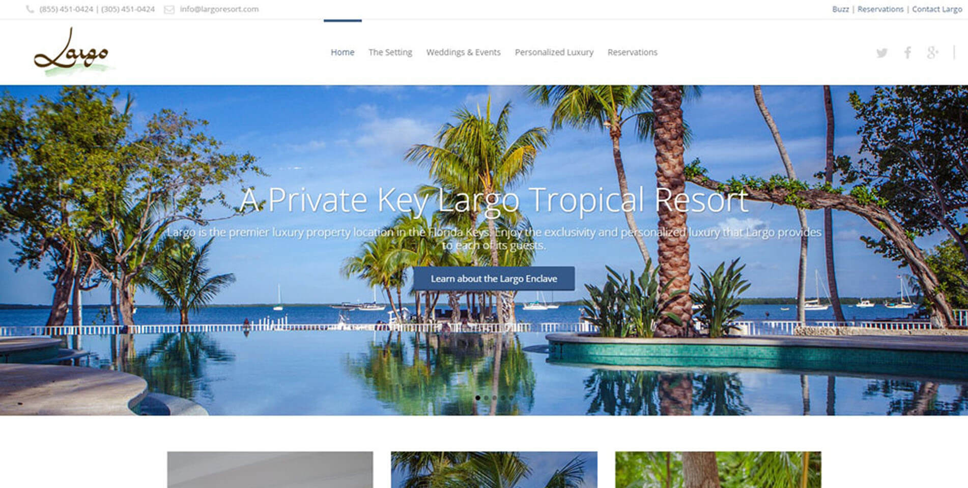 An image of the homepage of Largo Resort, website created by Not Fade Away Marketing