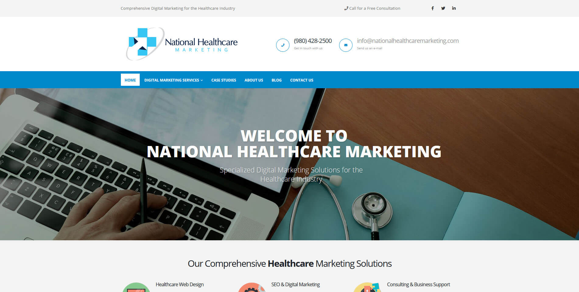 An image of the homepage of National Healthcare Marketing, website created by Not Fade Away Marketing