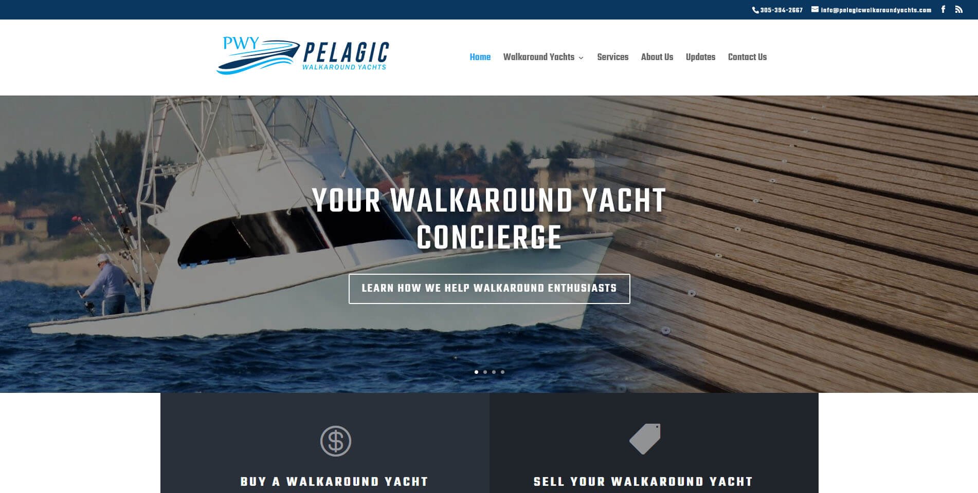 An image of the homepage of Pelagic Walkaorund Yachts, website created by Not Fade Away Marketing