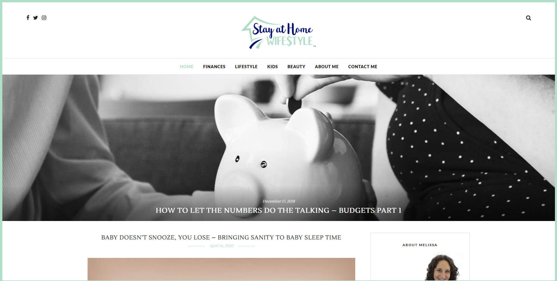 An image of the stay at home wifestyle website built by Not Fade Away Marketing.