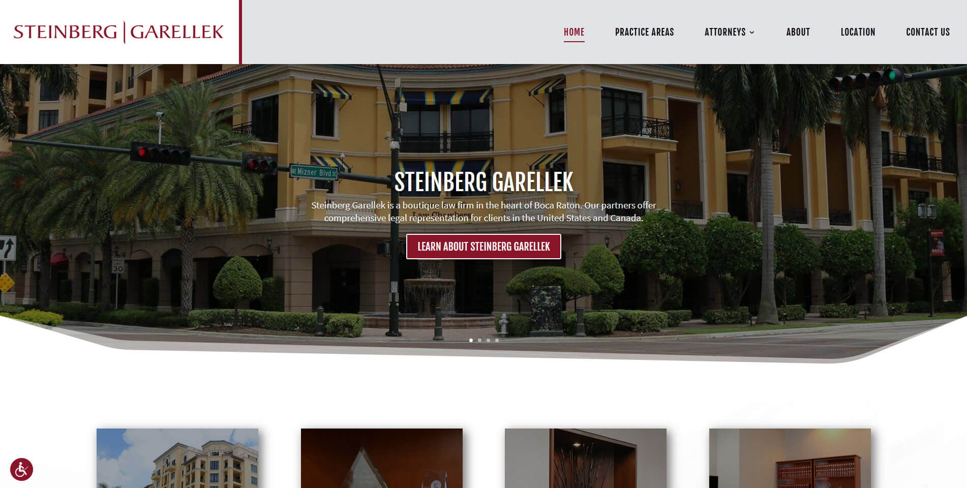An image of the Steinberg Garellek website homepage, created by Not Fade Away Marketing of South Florida.