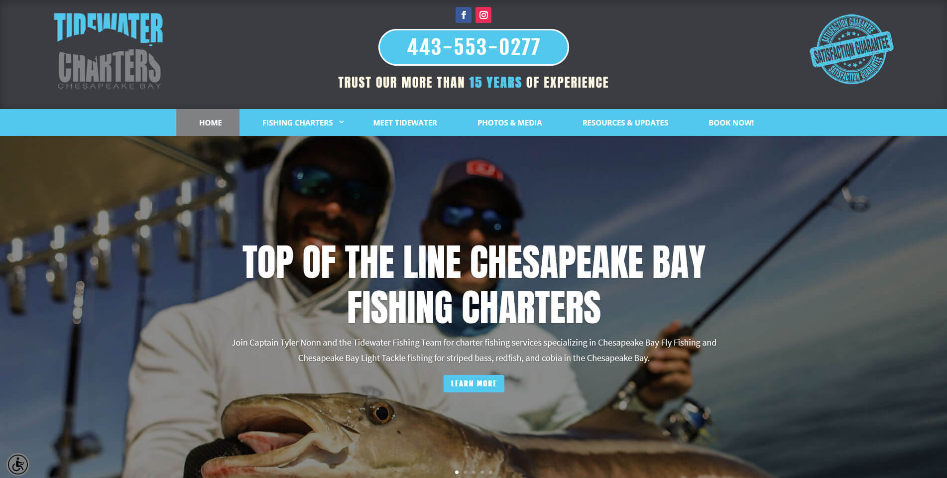 An image of the homepage of Tidewater Charters, website created by Not Fade Away Marketing