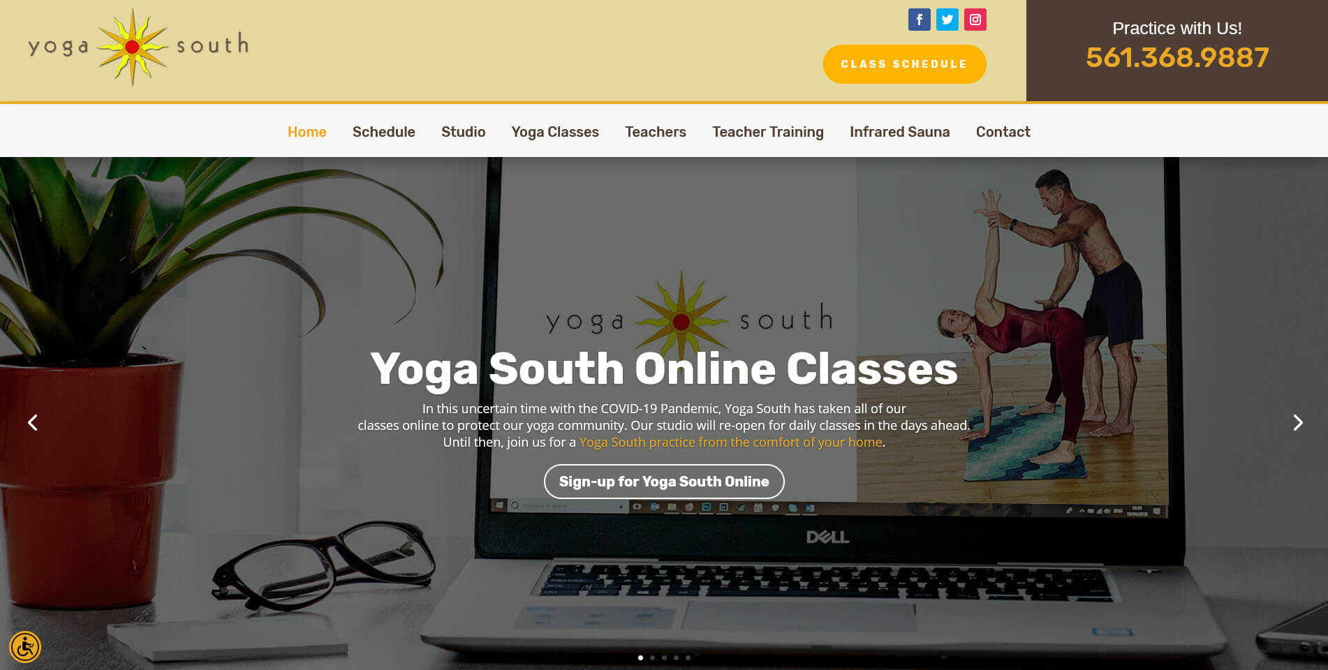 An image of the homepage of Yoga South, website created by Not Fade Away Marketing