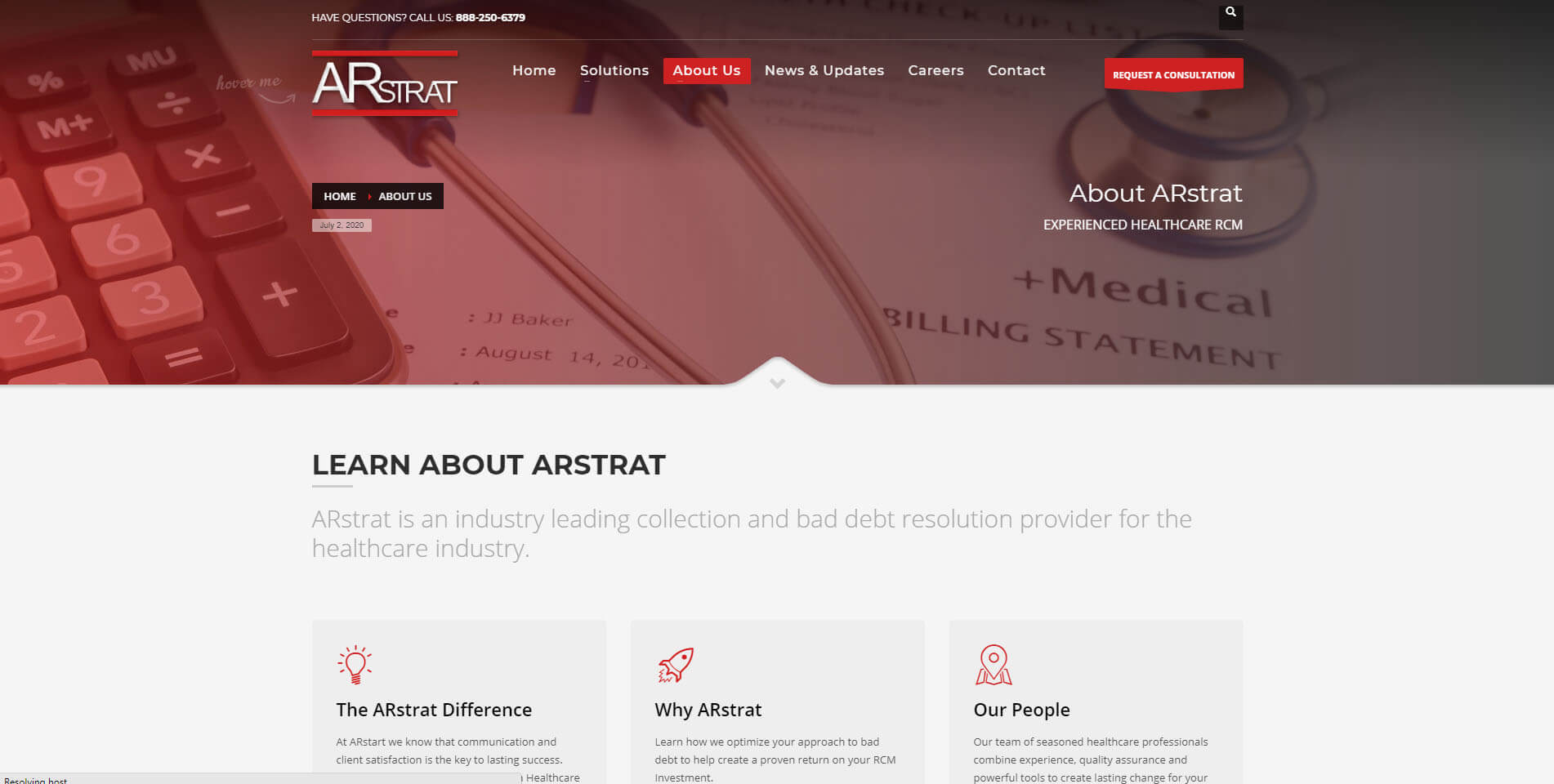 An image of the about us page of ARstrat, website created by Not Fade Away Marketing