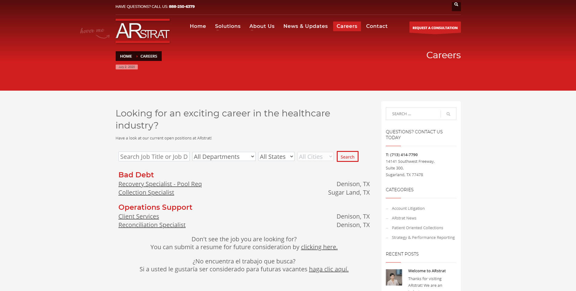 An image of the careers page of ARstrat, website created by Not Fade Away Marketing