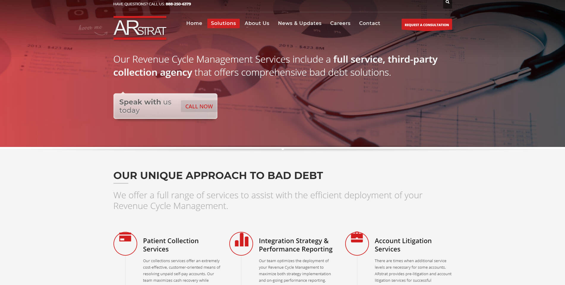 An image of the services page of ARstrat, website created by Not Fade Away Marketing