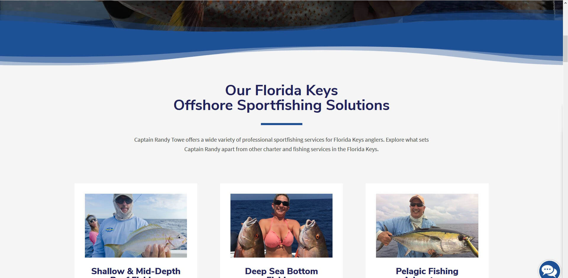 An image of the our fishing packages page of Captain Randy Towe, website created by Not Fade Away Marketing