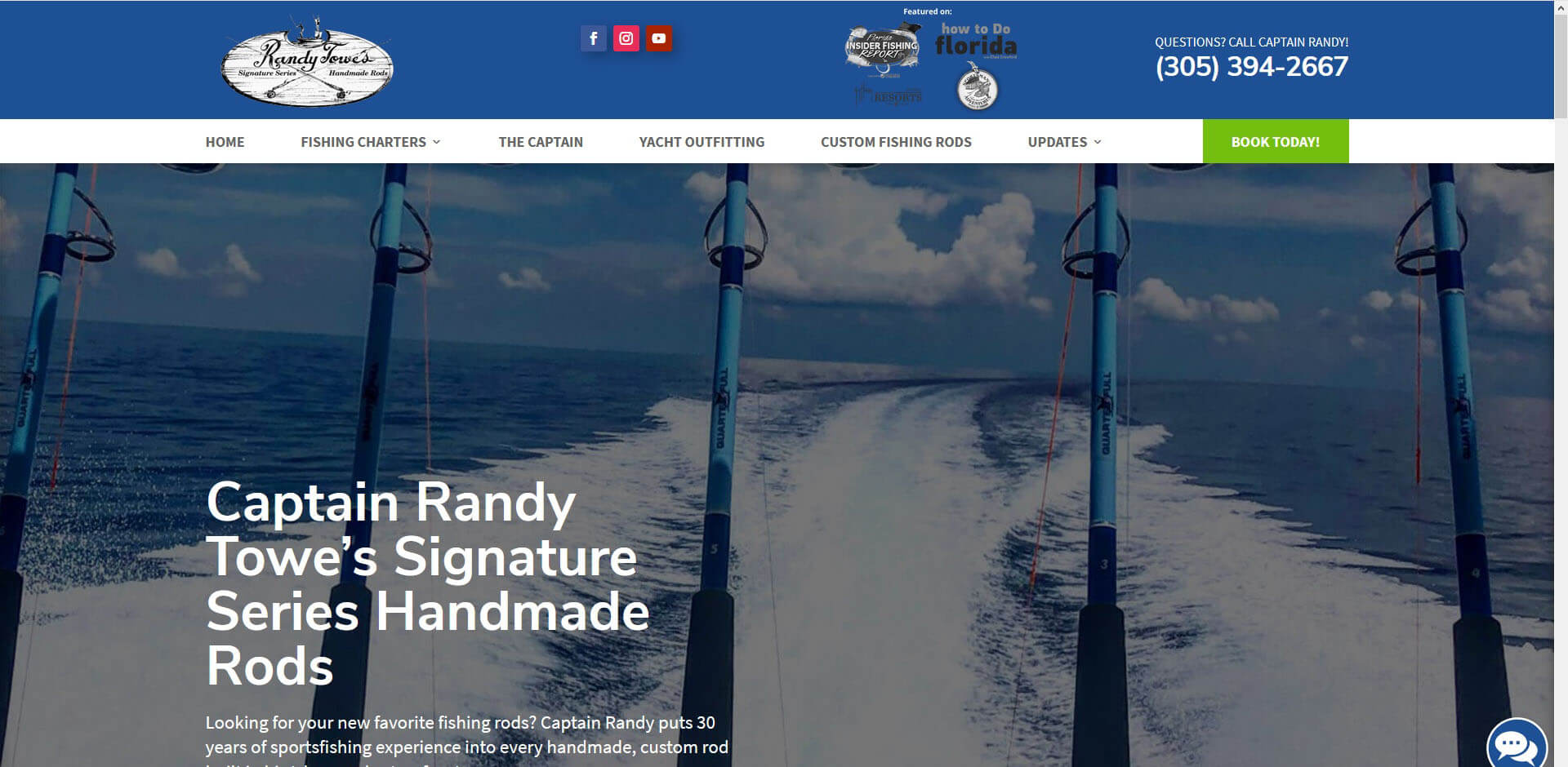 An image of the custom rods page of Captain Randy Towe, website created by Not Fade Away Marketing