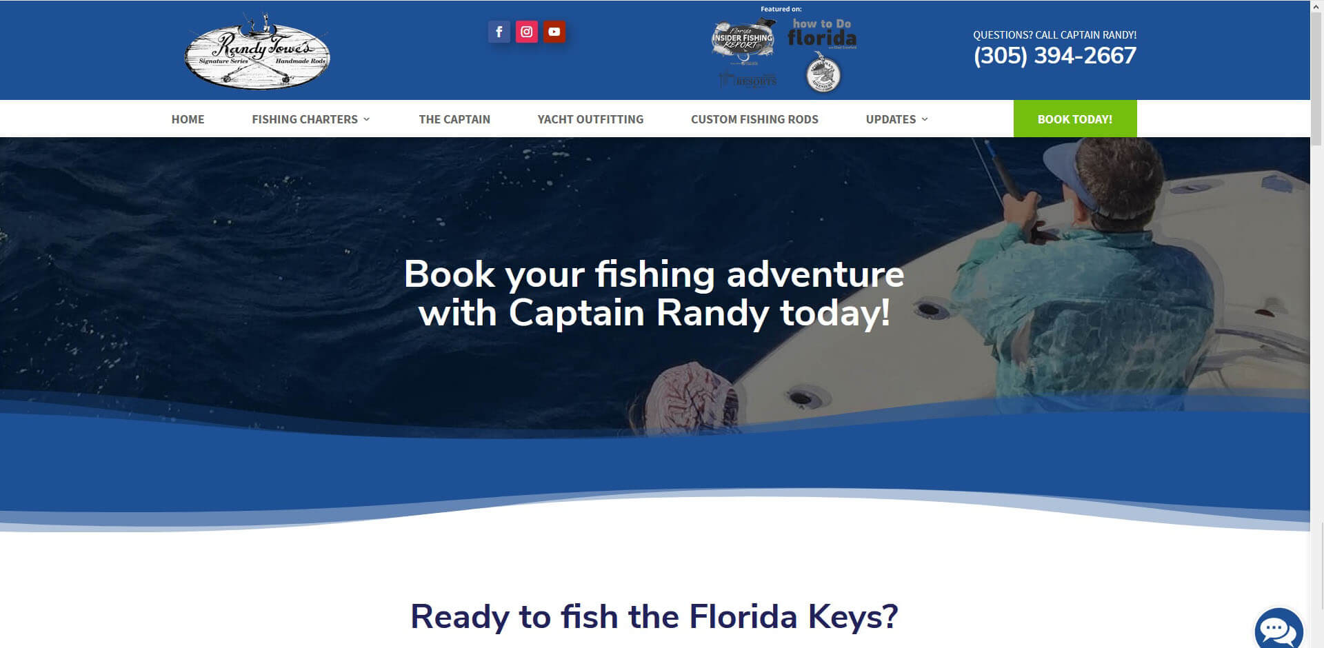 An image of the book now page of Captain Randy Towe, website created by Not Fade Away Marketing