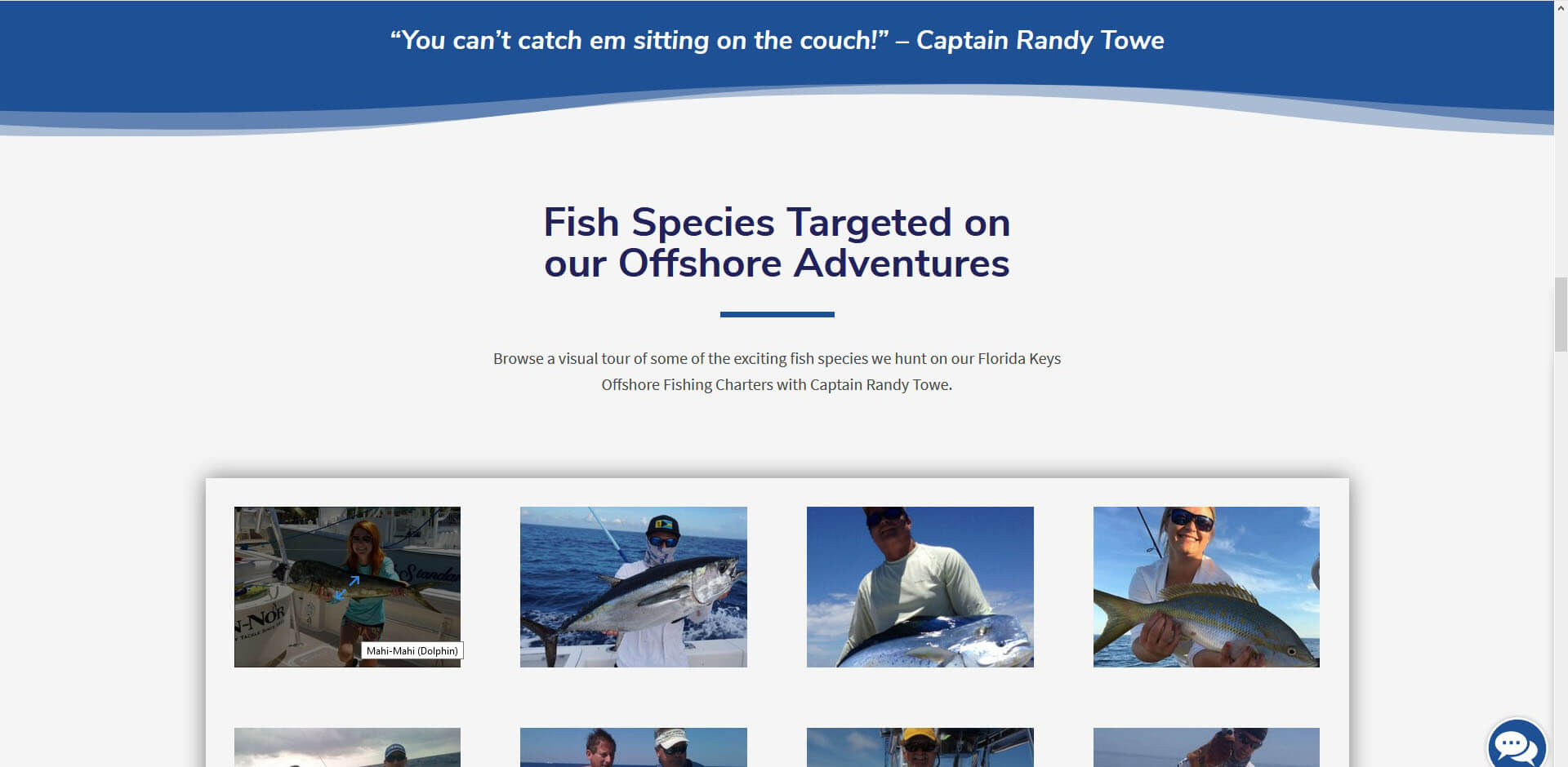 An image of the fish targeted page of Captain Randy Towe, website created by Not Fade Away Marketing