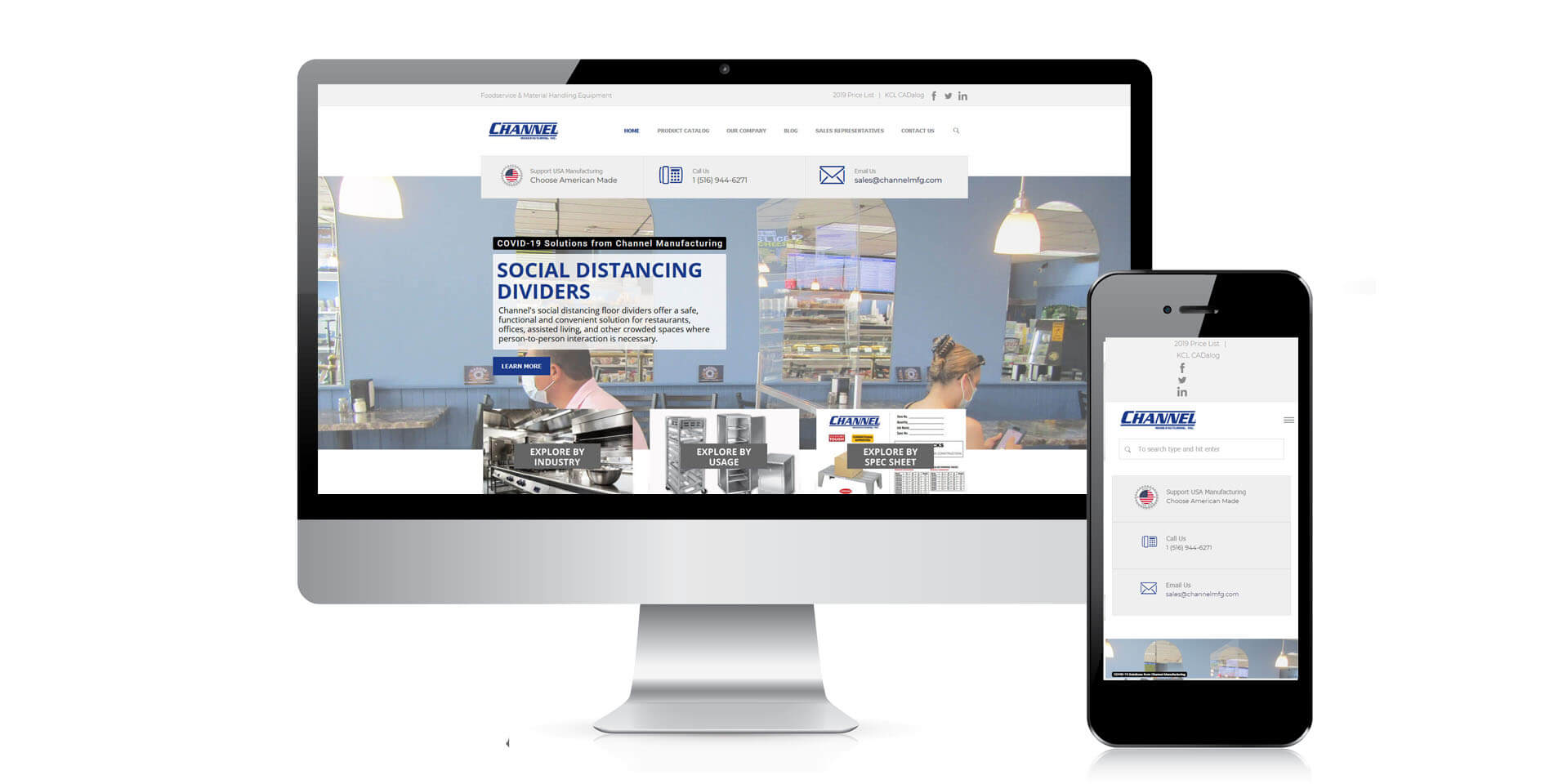 An image of the responsive design of ChannelMFG.com, website created by Not Fade Away Marketing