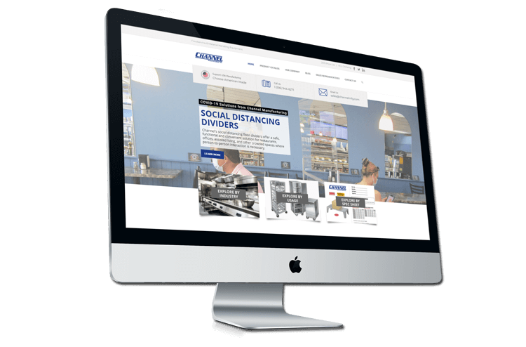 An image of the newly redesigned Channel Manufacturing website created by Not Fade Away.