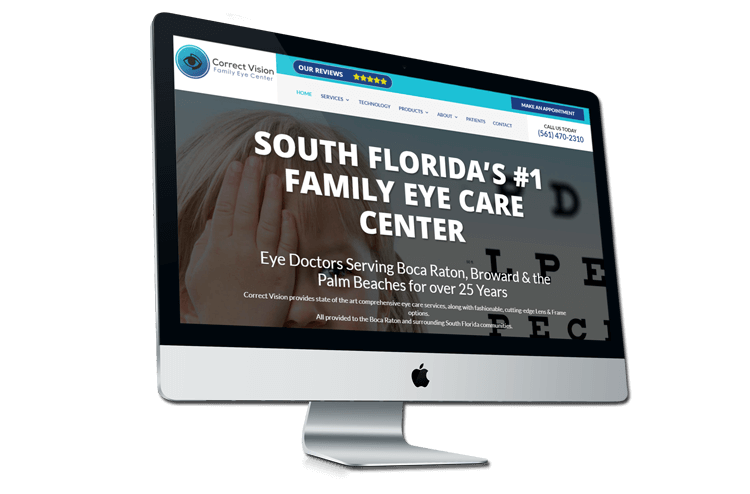 An image of the newly redesigned Correct Vision of Boca Raton website created by Not Fade Away