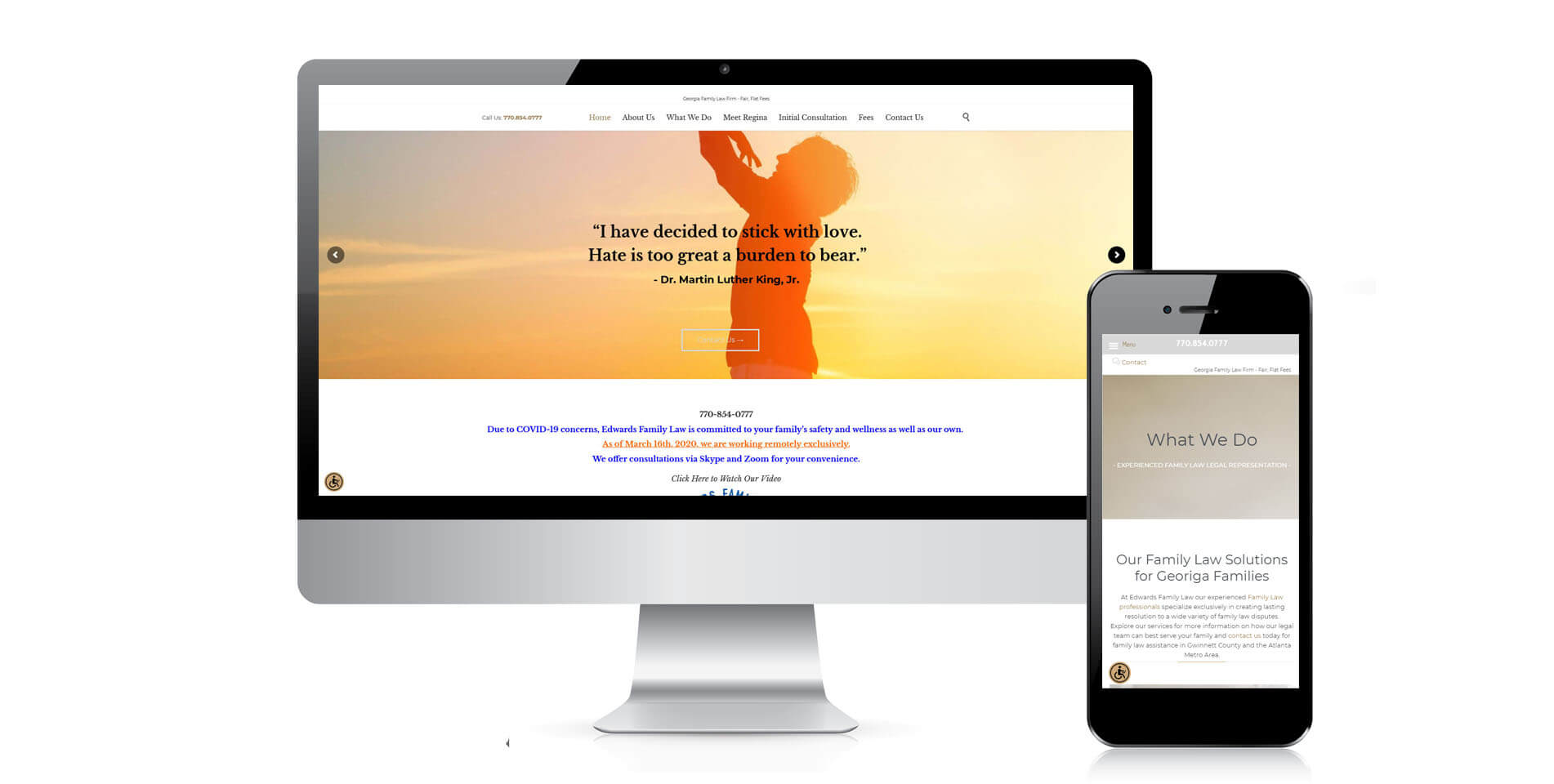 An image of the responsive design of Edwards Divorce Law, website created by Not Fade Away Marketing
