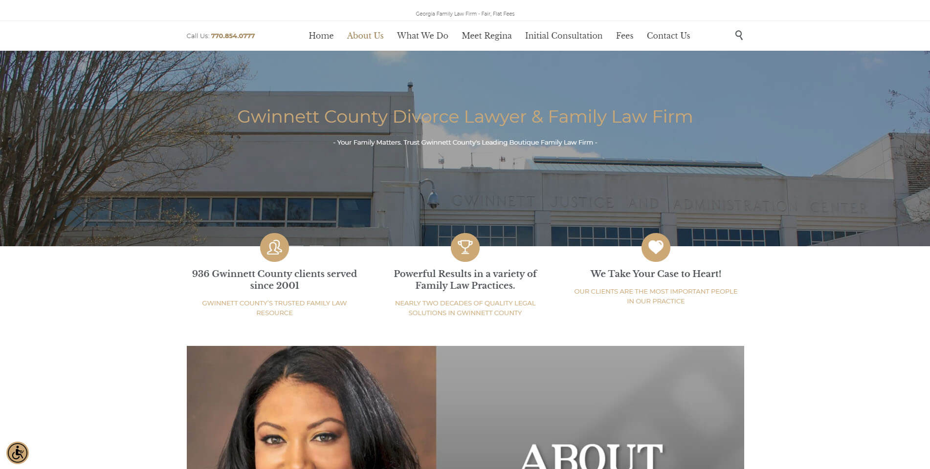 An image of the about us page of Edwards Divorce Law, website created by Not Fade Away Marketing