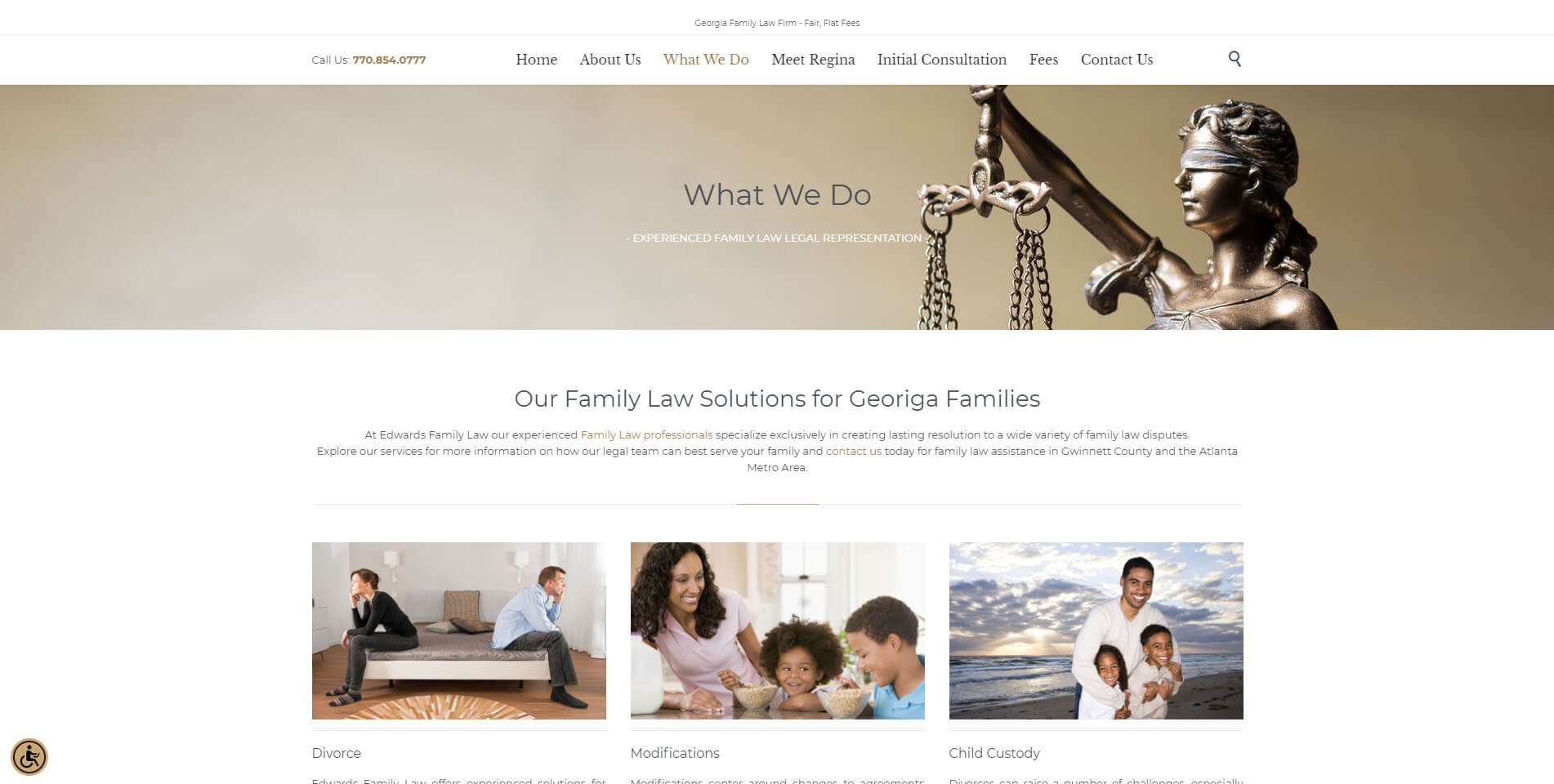 An image of the practice areas of Edwards Divorce Law, website created by Not Fade Away Marketing