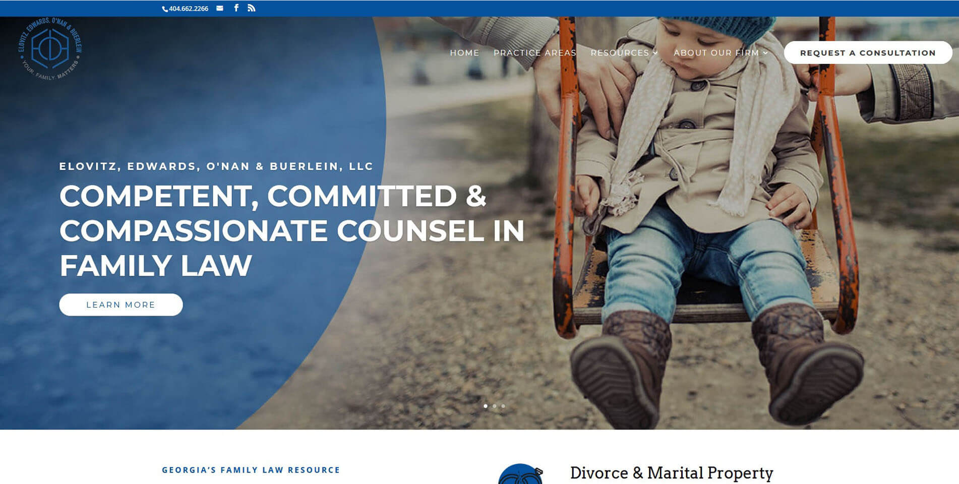An image of the EO Family Law website homepage, created by Not Fade Away Marketing.