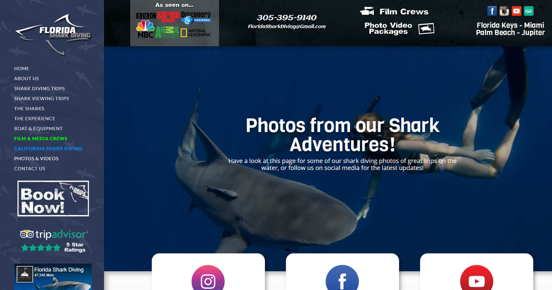 An image of the Photo Page of Florida Shark Diving, website created by Not Fade Away Marketing