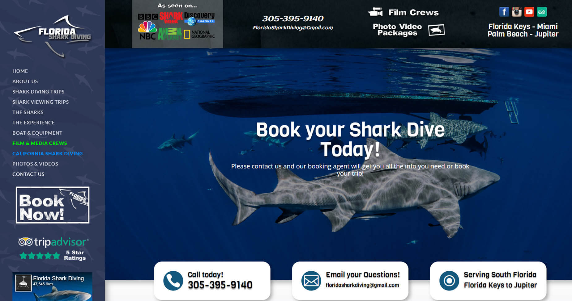 An image of the book now page of Florida Shark Diving, website created by Not Fade Away Marketing