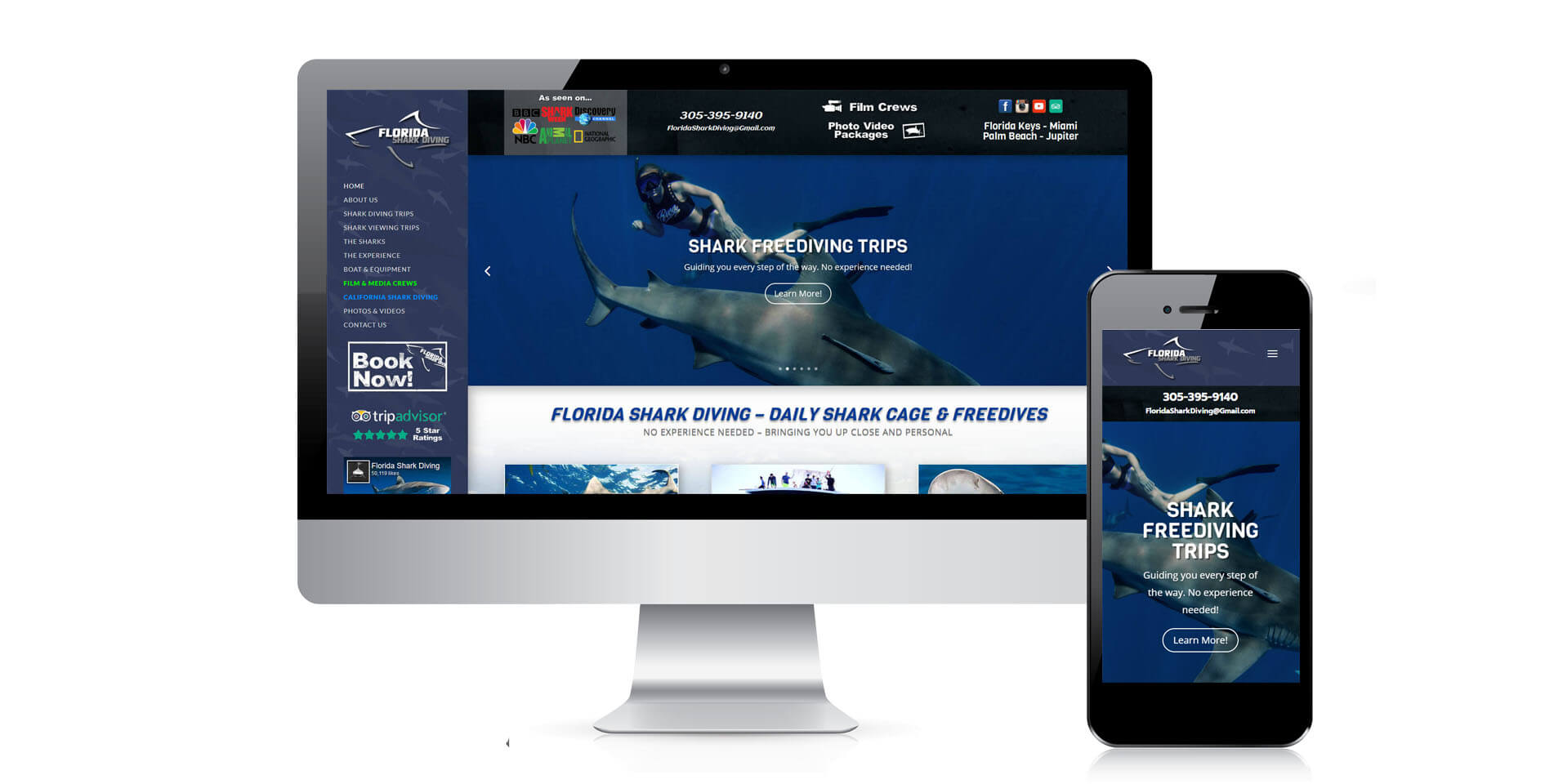 An image of the responsive options of Florida Shark Diving, website created by Not Fade Away Marketing
