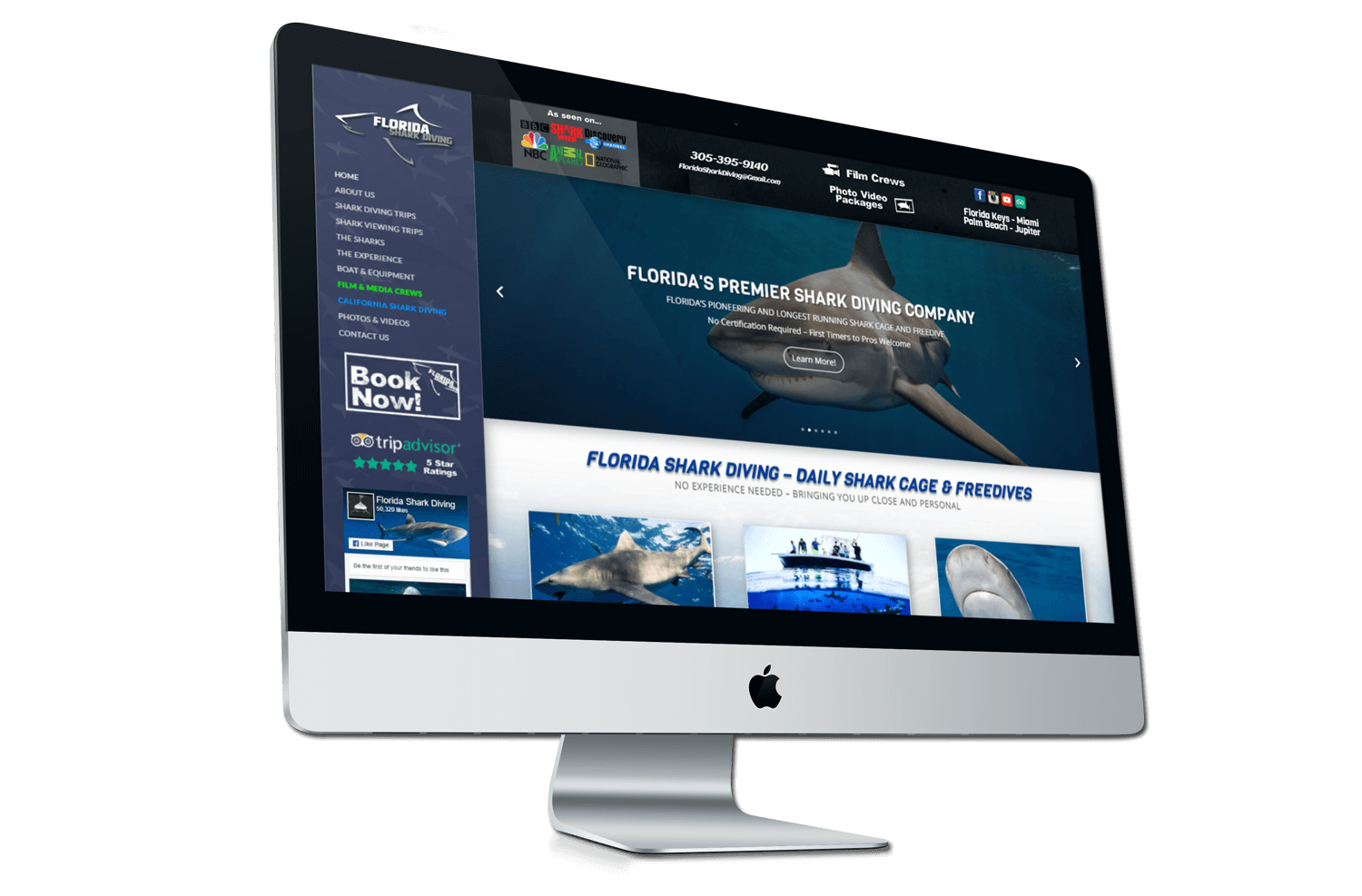An image of the newly redesigned Florida Shark Diving website created by Not Fad
