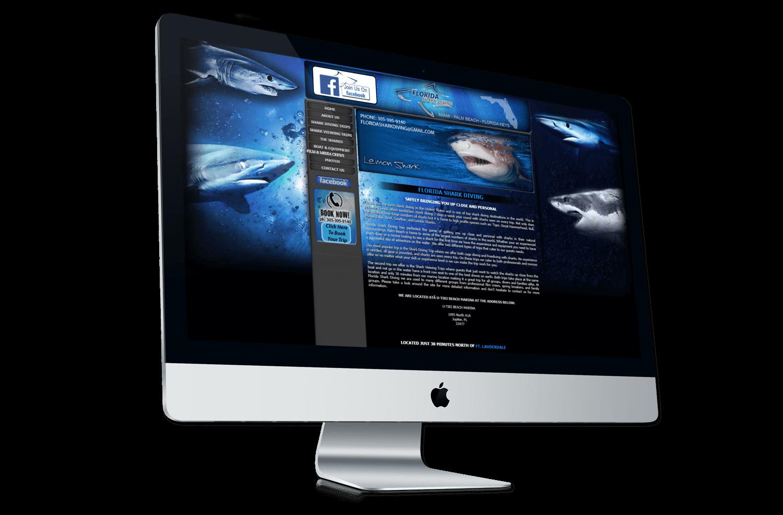 An image of the original Florida Shark Diving website.