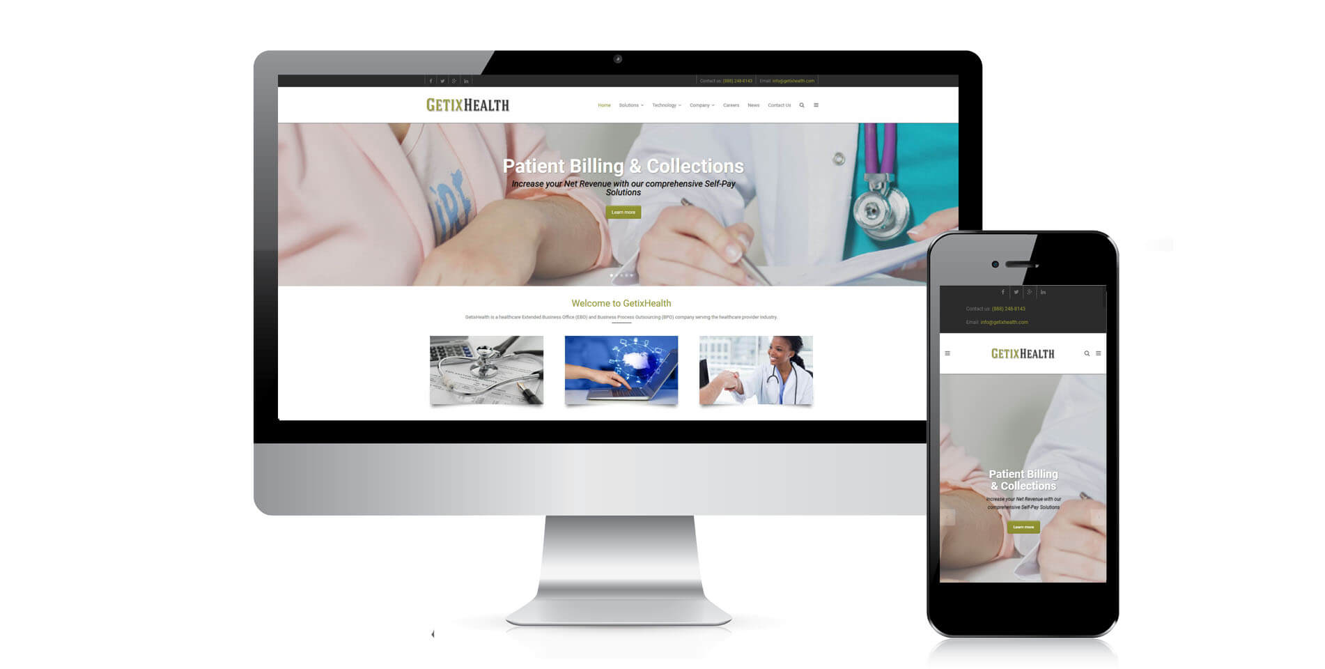 An image of the responsive design of GetixHealth, website created by Not Fade Away Marketing