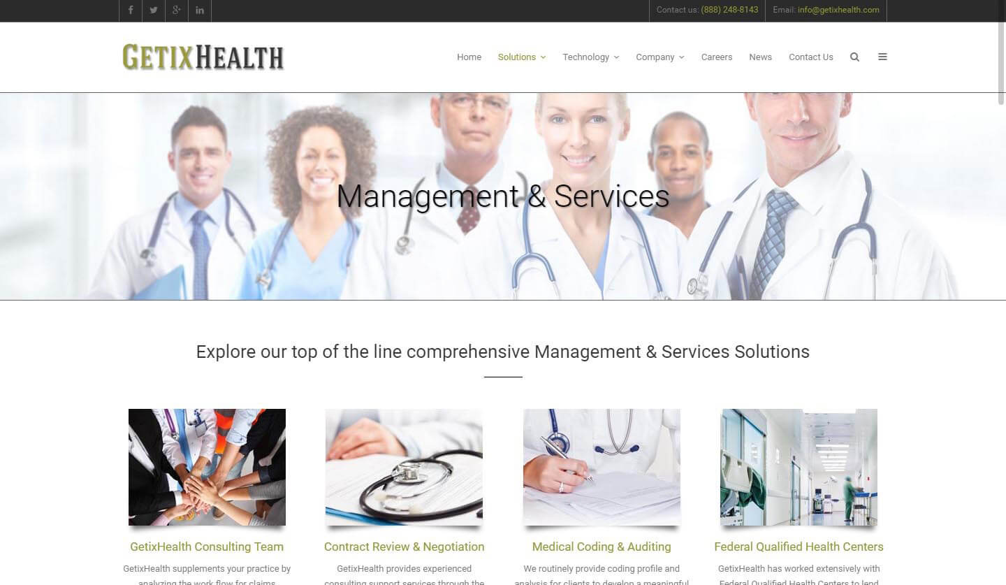 An image of the management page of GetixHealth, website created by Not Fade Away Marketing