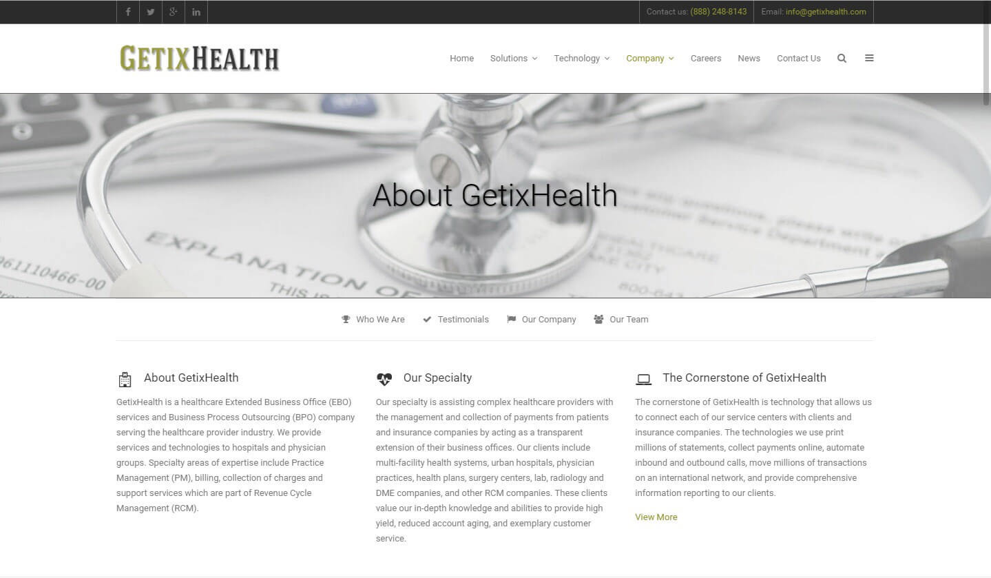 An image of the about us page of GetixHealth, website created by Not Fade Away Marketing