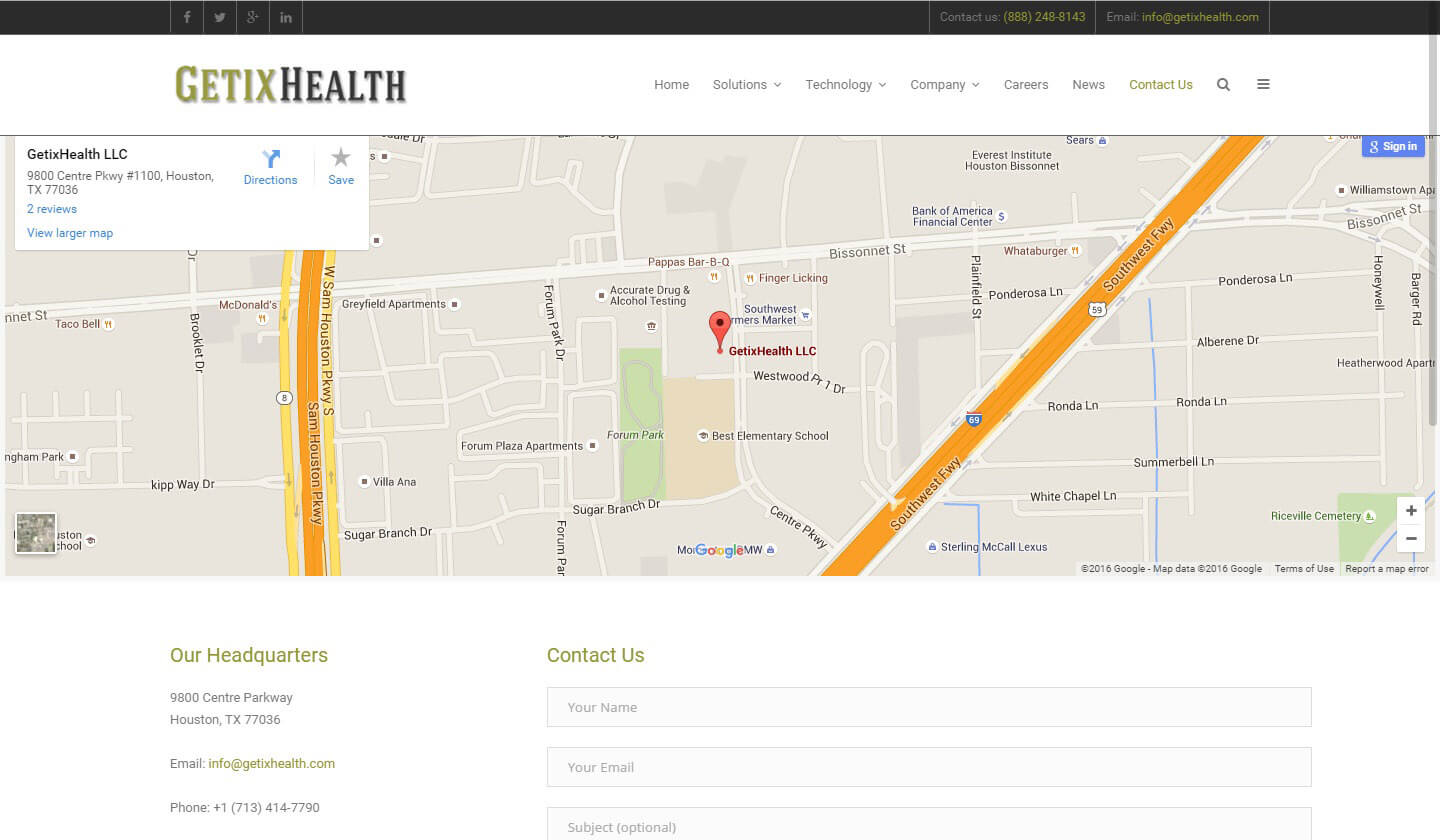 An image of the Contact Page of GetixHealth, website created by Not Fade Away Marketing