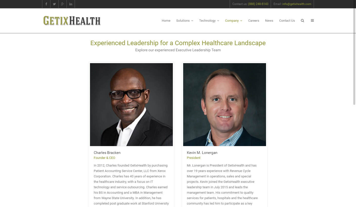 An image of the leadership page of GetixHealth, website created by Not Fade Away Marketing