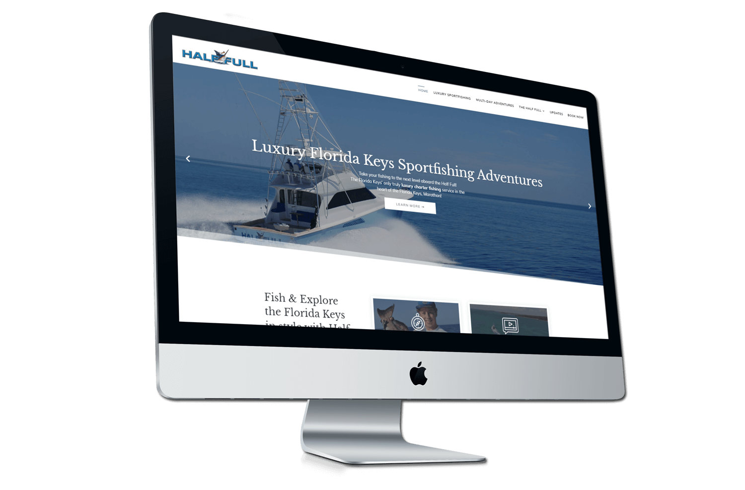 A after photo of the new Half Full Sportfishing website on a iMac mockup from Not Fade Away.