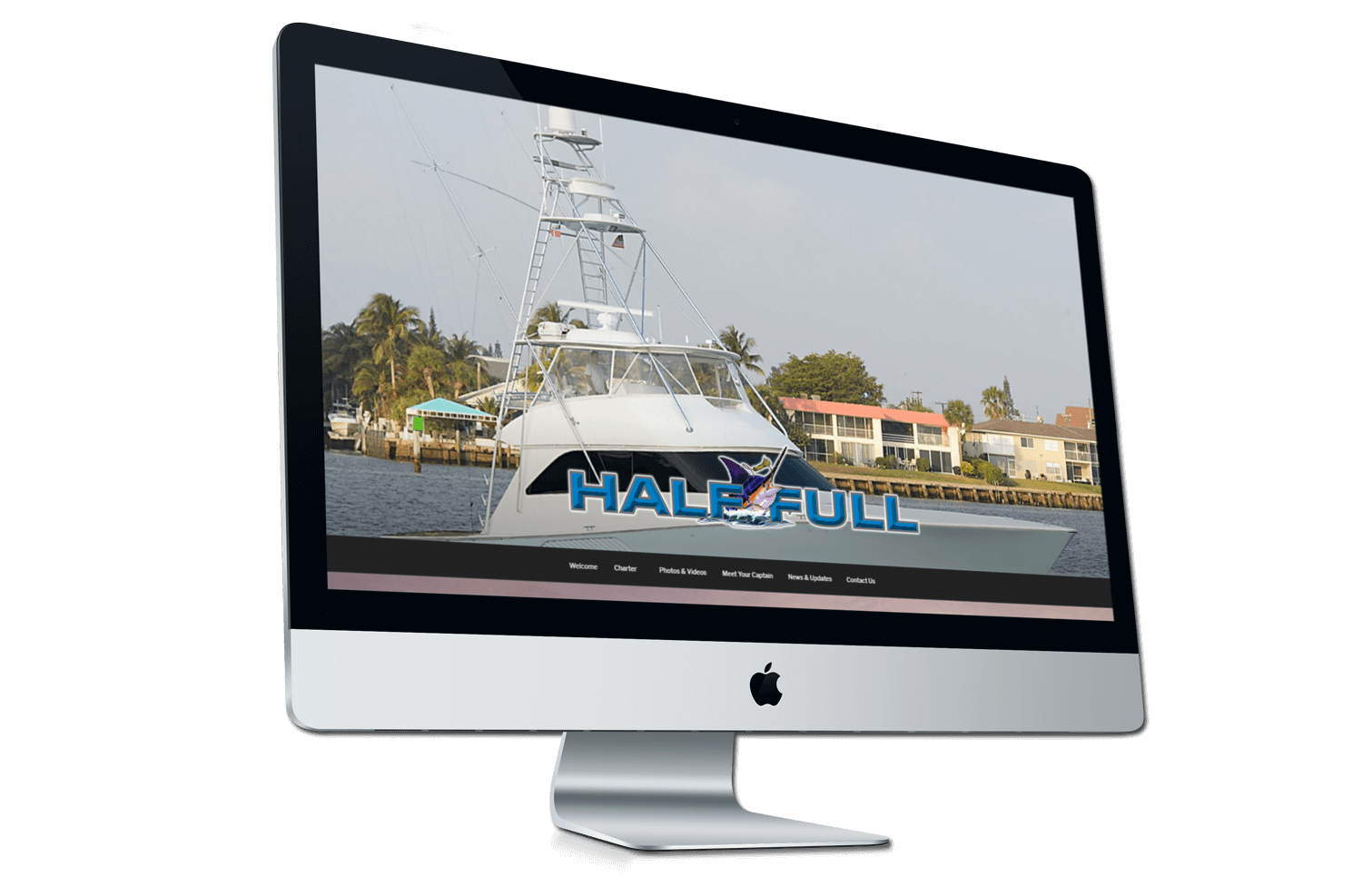 A before photo of the old Half Full Sportsfishing website on a iMac mockup from Not Fade Away.
