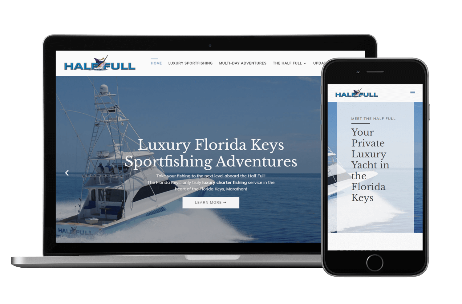 An image of the responsive web design created for the Half Full Sportsfishing Team.