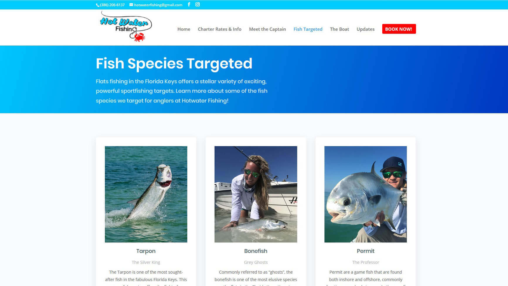 An image of the fish targeted page of Hot Water Fishing, website created by Not Fade Away Marketing