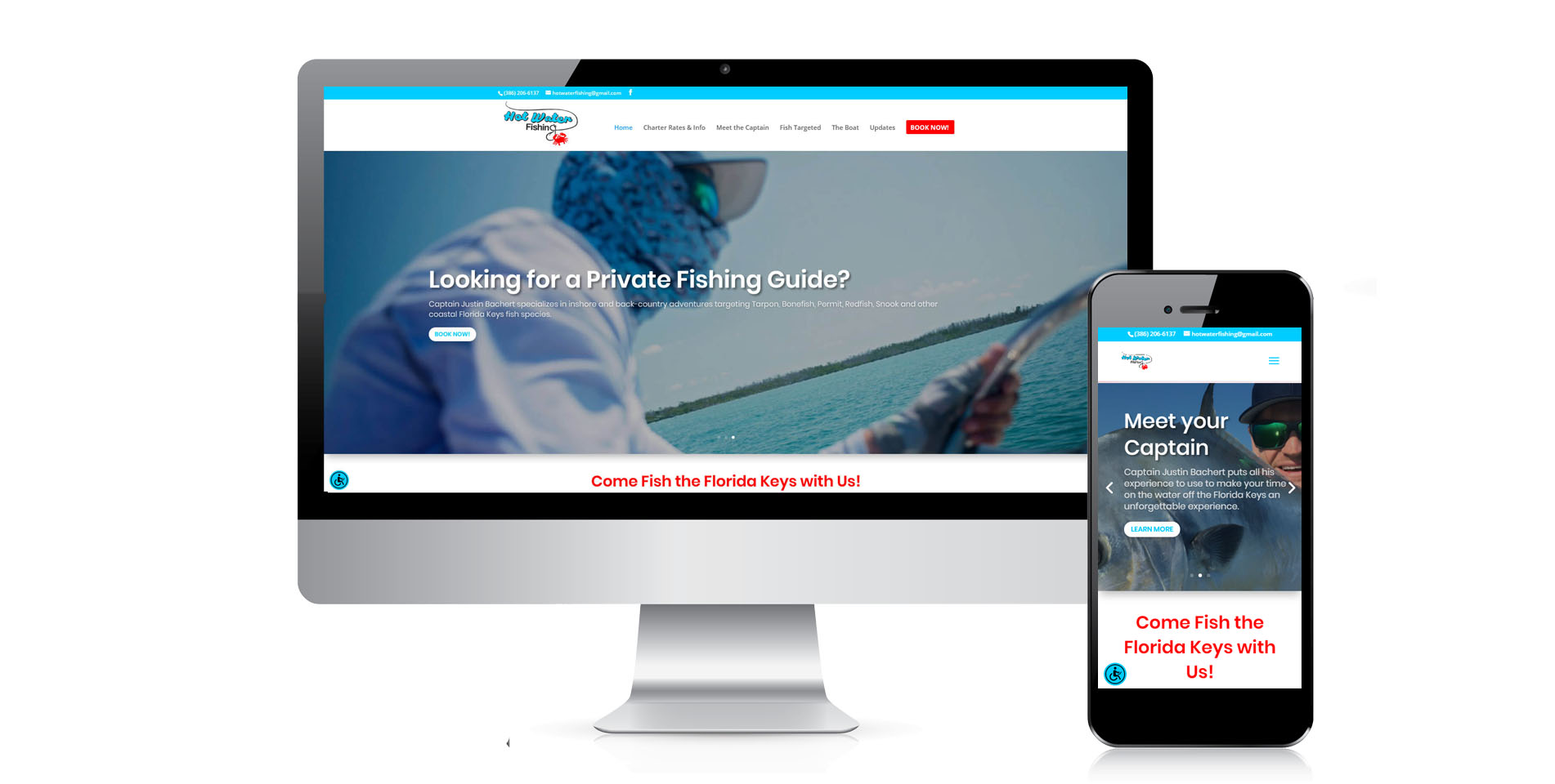 An image of the responsive design of Hot Water Fishing, website created by Not Fade Away Marketing