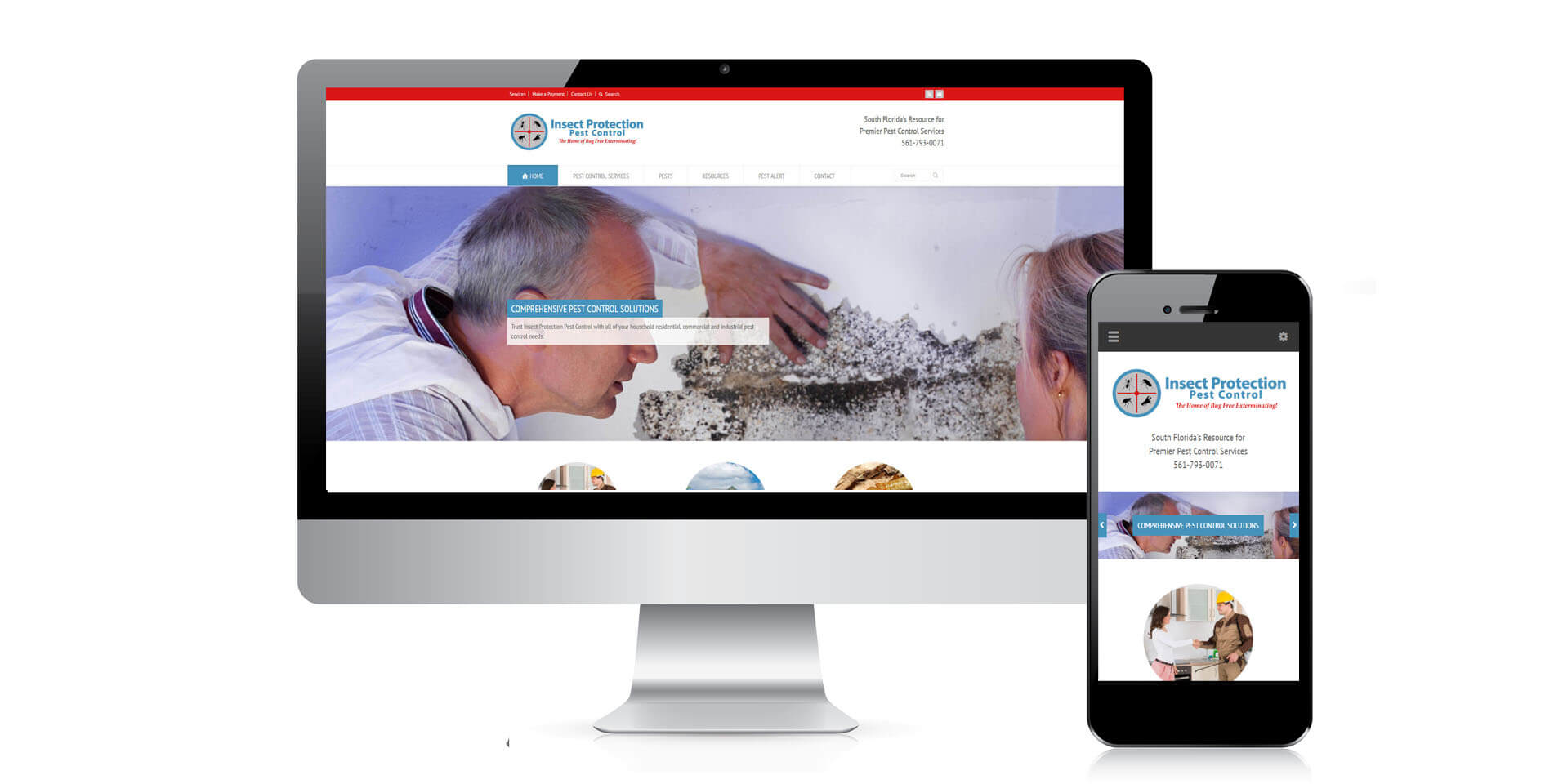 An image of the responsive design of Insect Protection Pest Control, website created by Not Fade Away Marketing