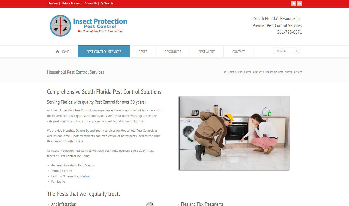 An image of the Services page of Insect Protection Pest Control, website created by Not Fade Away Marketing
