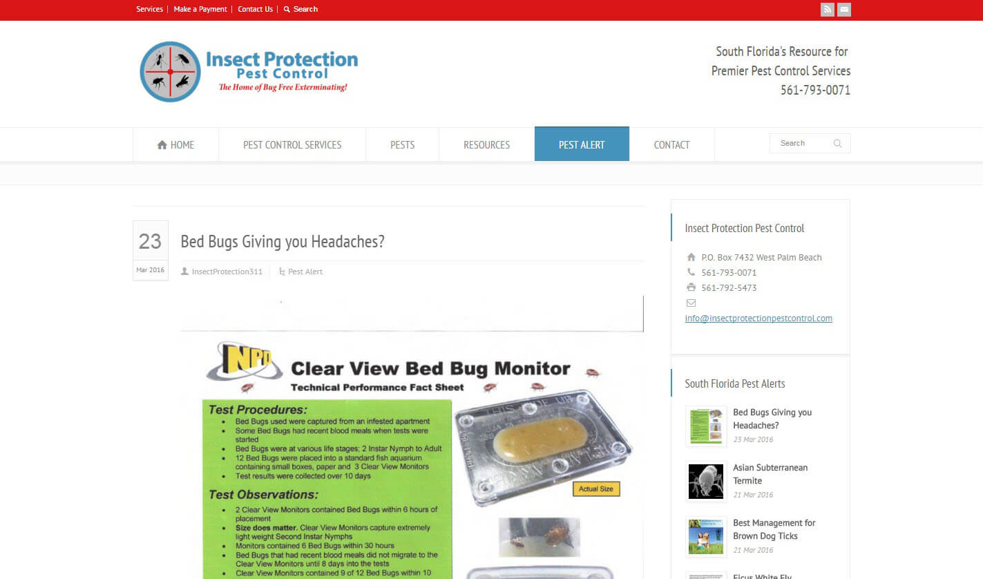 An image of the pest alert page of Insect Protection Pest Control, website created by Not Fade Away Marketing